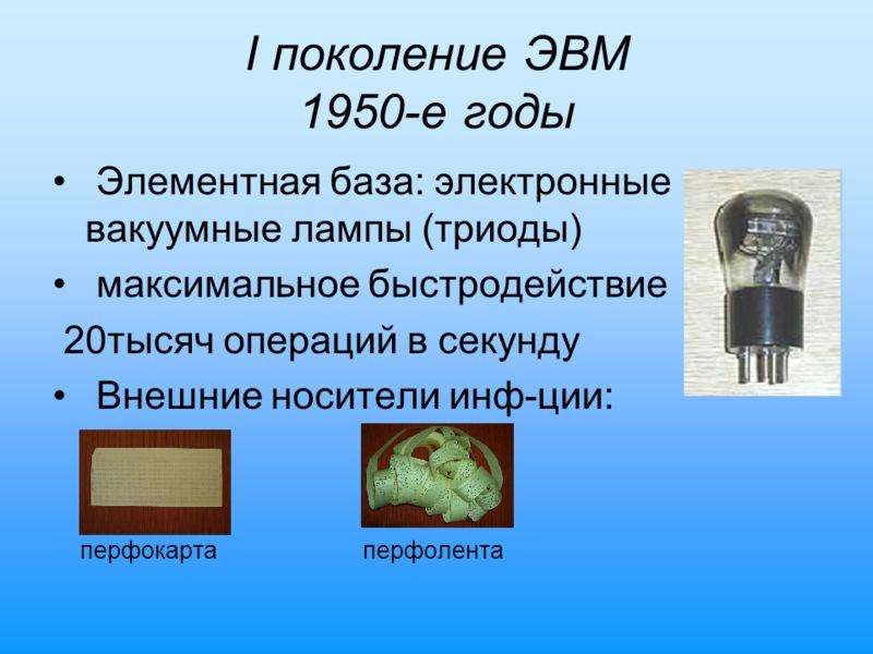 I поколение ЭВМ 1950-е годы Элементная база: электронные вакуумные лампы (триоды) максимальное быстродействие 20тысяч операций в секунду Внешние носители инф-ции: перфокарта перфолента