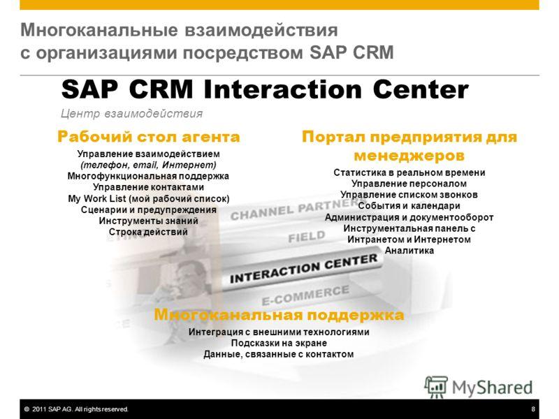 ©2011 SAP AG. All rights reserved.8 Многоканальные взаимодействия с организациями посредством SAP CRM SAP CRM Interaction Center Центр взаимодействия Рабочий стол агента Управление взаимодействием (телефон, email, Интернет) Многофункциональная поддер