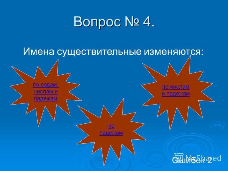 Вопрос 4. Имена существительные изменяются: по родам, числам и падежам по числам и падежам по падежам Ошибок 2