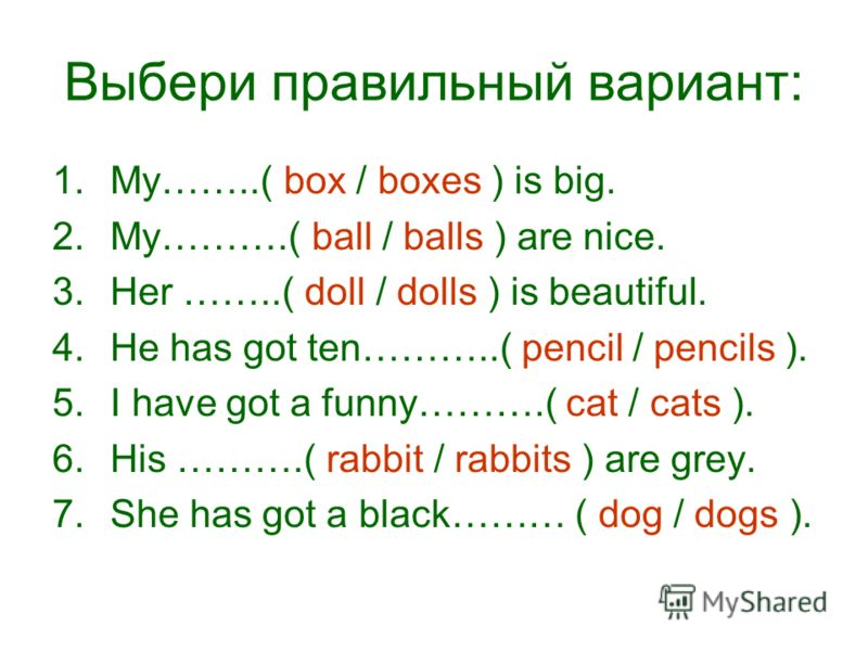 Выбери правильный вариант: 1.My……..( box / boxes ) is big. 2.My……….( ball / balls ) are nice. 3.Her ……..( doll / dolls ) is beautiful. 4.He has got ten………..( pencil / pencils ). 5.I have got a funny……….( cat / cats ). 6.His ……….( rabbit / rabbits ) a