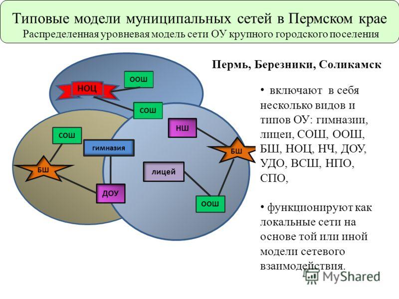 БШ СОШ ООШ гимназия НОЦ ДОУ НШ лицей Пермь, Березники, Соликамск включают в себя несколько видов и типов ОУ: гимназии, лицеи, СОШ, ООШ, БШ, НОЦ, НЧ, ДОУ, УДО, ВСШ, НПО, СПО, функционируют как локальные сети на основе той или иной модели сетевого взаи