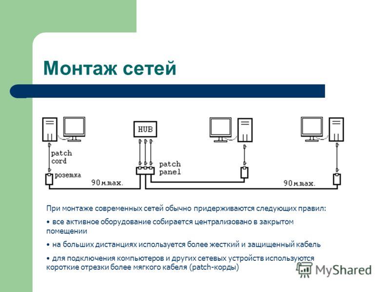 Монтаж сетей При монтаже современных сетей обычно придерживаются следующих правил: все активное оборудование собирается централизовано в закрытом помещении на больших дистанциях используется более жесткий и защищенный кабель для подключения компьютер
