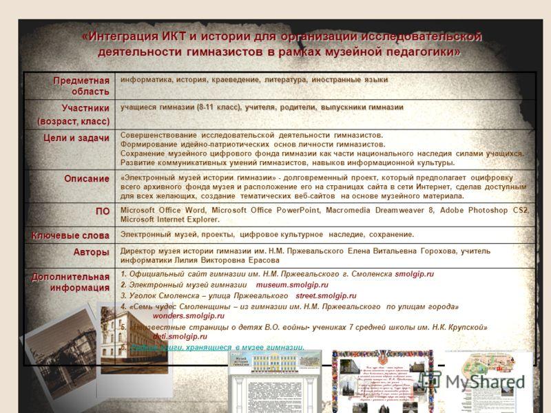 Интеграция ИКТ и истории для организации исследовательской деятельности гимназистов в рамках музейной педагогики» «Интеграция ИКТ и истории для организации исследовательской деятельности гимназистов в рамках музейной педагогики» Предметная область ин