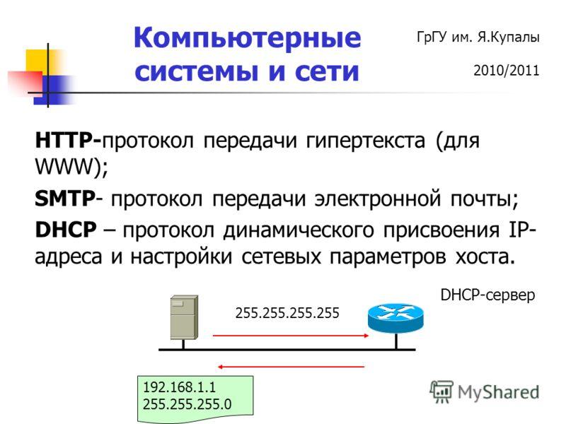 ГрГУ им. Я.Купалы 2010/2011 Компьютерные системы и сети HTTP-протокол передачи гипертекста (для WWW); SMTP- протокол передачи электронной почты; DHCP – протокол динамического присвоения IP- адреса и настройки сетевых параметров хоста. DHCP-cервер 255