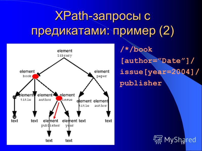 18 XPath-запросы с предикатами: пример (2) /*/book [author=Date]/ issue[year=2004]/ publisher