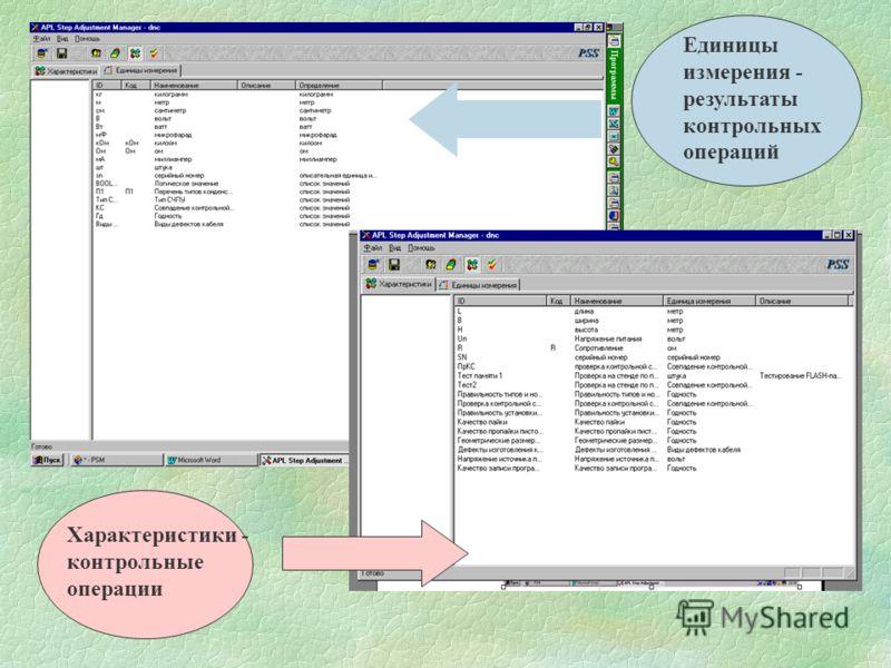 Единицы измерения - результаты контрольных операций Характеристики - контрольные операции