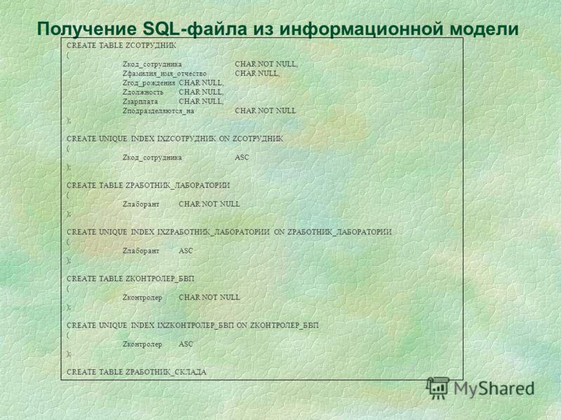 Получение SQL-файла из информационной модели CREATE TABLE ZСОТРУДНИК ( Zкод_сотрудникаCHAR NOT NULL, Zфамилия_имя_отчествоCHAR NULL, Zгод_рожденияCHAR NULL, ZдолжностьCHAR NULL, ZзарплатаCHAR NULL, Zподразделяются_наCHAR NOT NULL ); CREATE UNIQUE IND