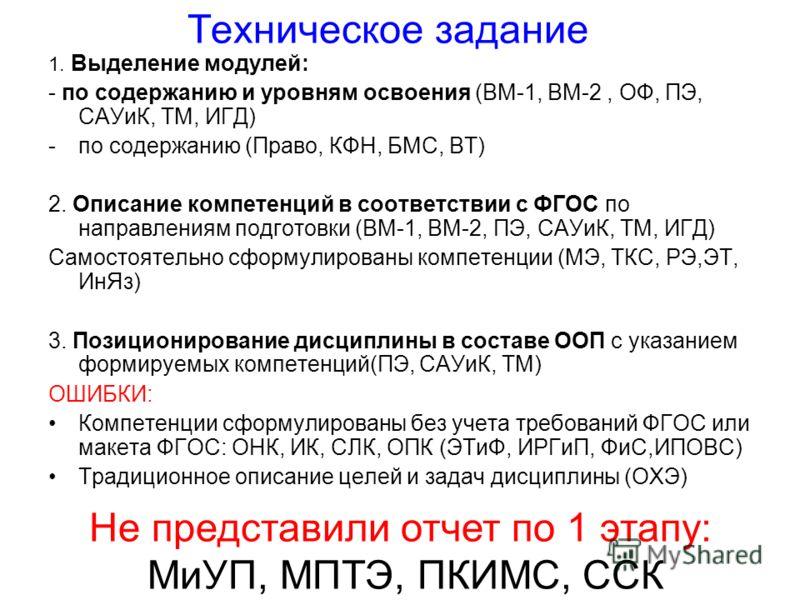 Техническое задание 1. Выделение модулей: - по содержанию и уровням освоения (ВМ-1, ВМ-2, ОФ, ПЭ, САУиК, ТМ, ИГД) -по содержанию (Право, КФН, БМС, ВТ) 2. Описание компетенций в соответствии с ФГОС по направлениям подготовки (ВМ-1, ВМ-2, ПЭ, САУиК, ТМ