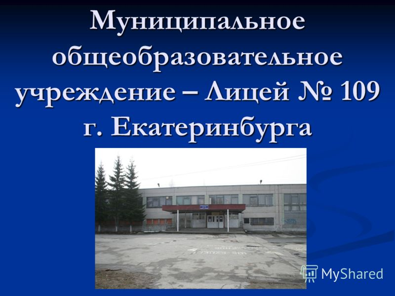 Муниципальное общеобразовательное учреждение – Лицей 109 г. Екатеринбурга