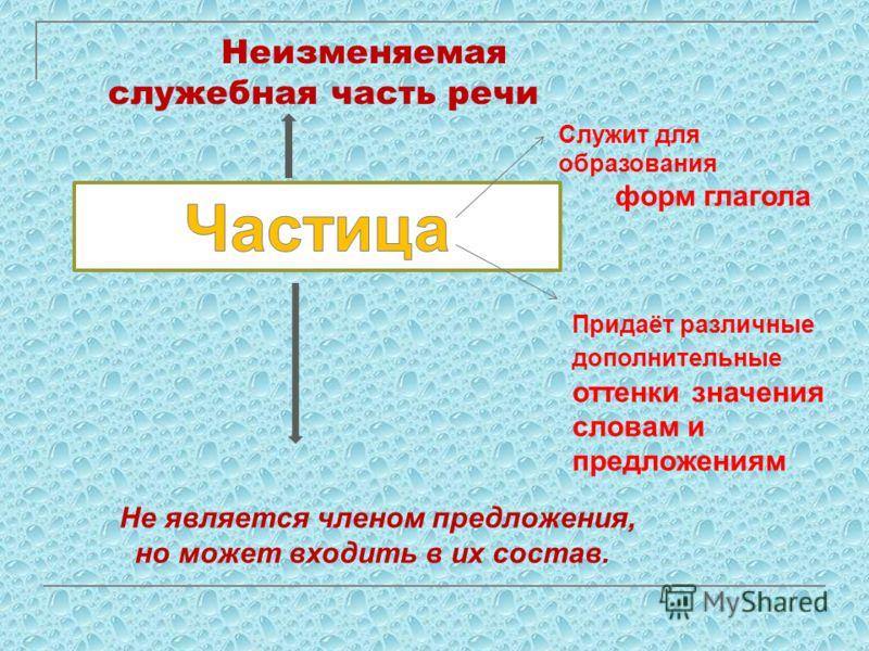 Служит для образования форм глагола Придаёт различные дополнительные оттенки значения словам и предложениям Неизменяемая служебная часть речи Не является членом предложения, но может входить в их состав.