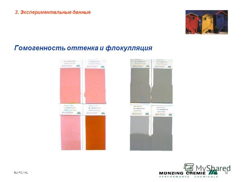 BU FC / HL32 Гомогенность оттенка и флокулляция 3. Экспериментальные данные