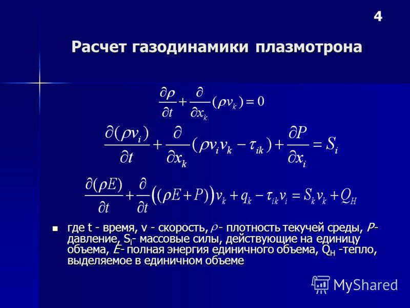 Расчет газодинамики плазмотрона где t - время, v - скорость, - плотность текучей среды, Р- давление, S i - массовые силы, действующие на единицу объема, Е- полная энергия единичного объема, Q H -тепло, выделяемое в единичном объеме где t - время, v -