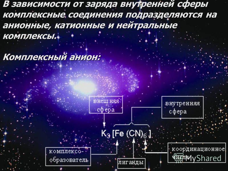 8 В зависимости от заряда внутренней сферы комплексные соединения подразделяются на анионные, катионные и нейтральные комплексы. Комплексный анион: