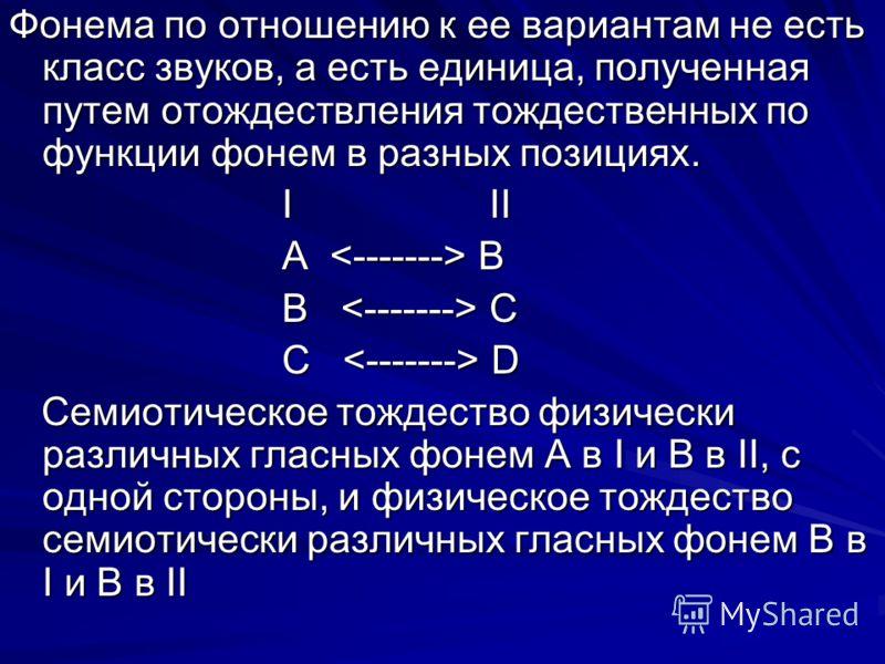 Фонема по отношению к ее вариантам не есть класс звуков, а есть единица, полученная путем отождествления тождественных по функции фонем в разных позициях. I II I II А B А B B C B C C D C D Семиотическое тождество физически различных гласных фонем А в