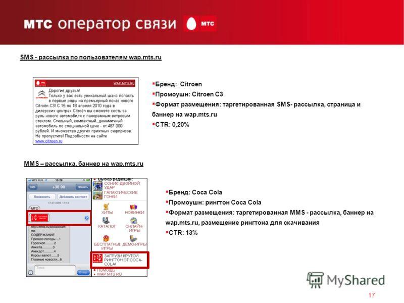 SMS - рассылка по пользователям wap.mts.ru 17 Бренд: Citroen Промоушн: Citroen C3 Формат размещения: таргетированная SMS- рассылка, страница и баннер на wap.mts.ru CTR: 0,20% MMS – рассылка, баннер на wap.mts.ru Бренд: Coca Cola Промоушн: рингтон Coc