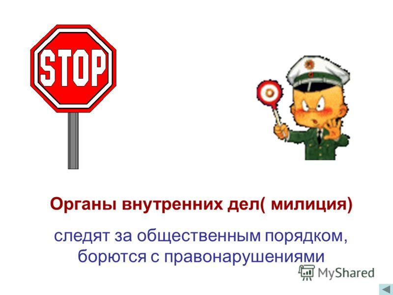 Органы внутренних дел( милиция) следят за общественным порядком, борются с правонарушениями