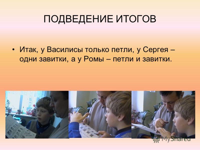 ПОДВЕДЕНИЕ ИТОГОВ Итак, у Василисы только петли, у Сергея – одни завитки, а у Ромы – петли и завитки.