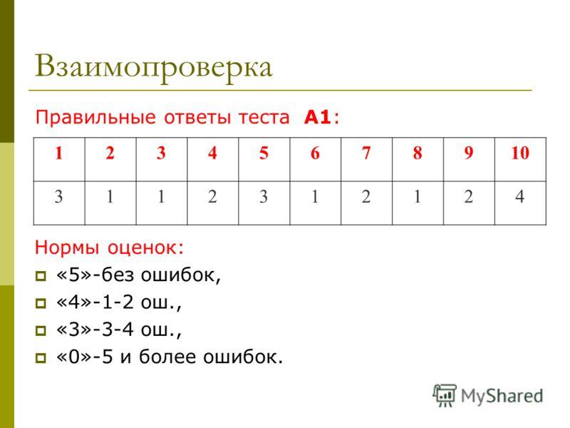 Взаимопроверка Нормы оценок: «5»-без ошибок, «4»-1-2 ош., «3»-3-4 ош., «0»-5 и более ошибок. Правильные ответы теста А1: 12345678910 3112312124