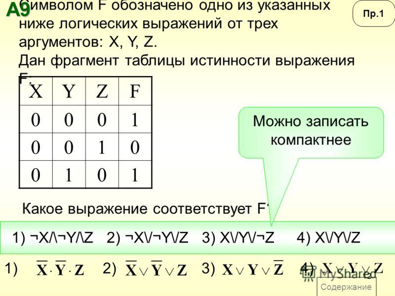 12 Содержание Символом F обозначено одно из указанных ниже логических выражений от трех аргументов: X, Y, Z. Дан фрагмент таблицы истинности выражения F: Какое выражение соответствует F? XYZF 0001 0010 0101 1) ¬X/\¬Y/\Z2) ¬X\/¬Y\/Z3) X\/Y\/¬Z4) X\/Y\