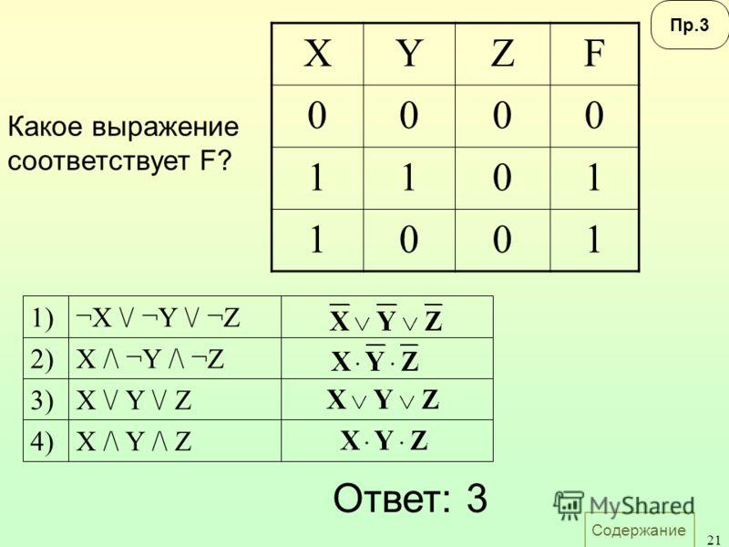 Содержание 21 Какое выражение соответствует F? Пр.3 XYZF 0000 1101 1001 X /\ Y /\ Z X \/ Y \/ Z X /\ ¬Y /\ ¬Z ¬X \/ ¬Y \/ ¬Z 4) 3) 2) 1) Ответ: 3
