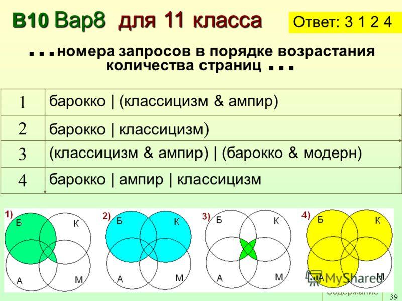 Содержание 39 В10 Вар8 для 11 класса Ответ: 3 1 2 4 1 барокко | (классицизм & ампир) 2 барокко | классицизм ) 3 (классицизм & ампир) | (барокко & модерн) 4 барокко | ампир | классицизм … номера запросов в порядке возрастания количества страниц …