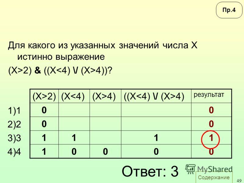 Содержание 49 Для какого из указанных значений числа X истинно выражение (X>2) & ((X 4))? 1)1 2)2 3)3 4)4 (X>2)(X4)((X 4) результат 00 00 1111 10000 Ответ: 3 Пр.4