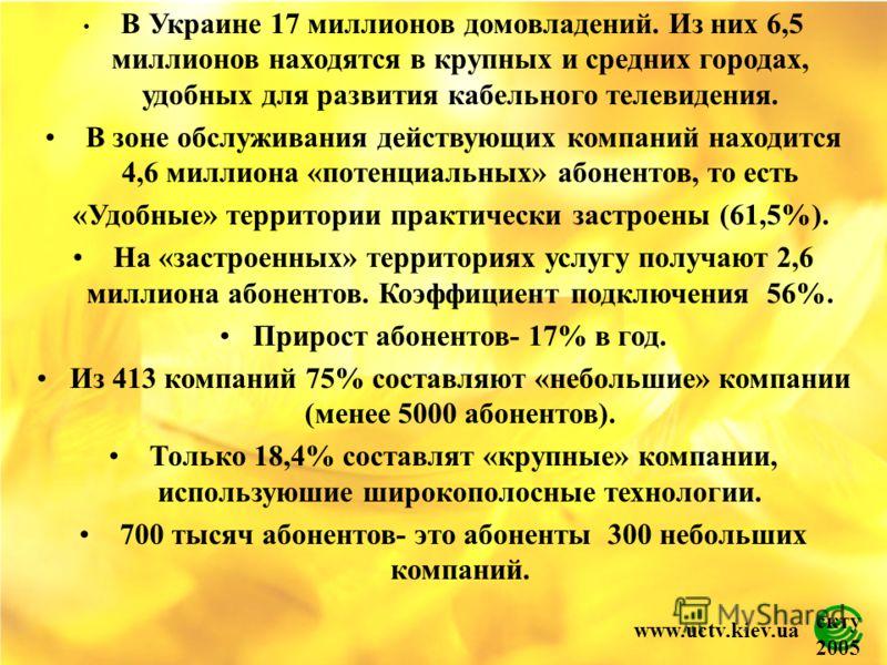 скту 2005 www.uctv.kiev.ua В Украине 17 миллионов домовладений. Из них 6,5 миллионов находятся в крупных и средних городах, удобных для развития кабельного телевидения. В зоне обслуживания действующих компаний находится 4,6 миллиона «потенциальных» а