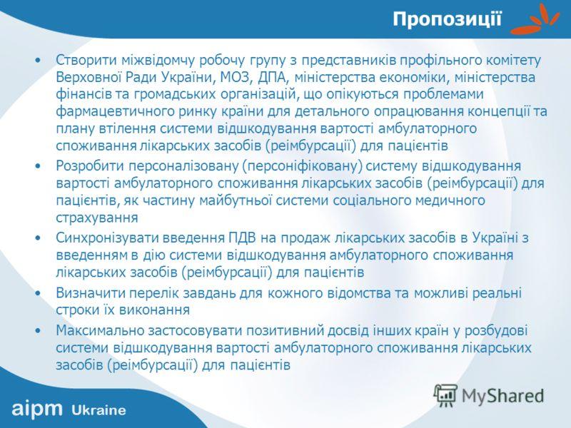 aipm Ukraine Пропозиції Створити міжвідомчу робочу групу з представників профільного комітету Верховної Ради України, МОЗ, ДПА, міністерства економіки, міністерства фінансів та громадських організацій, що опікуються проблемами фармацевтичного ринку к