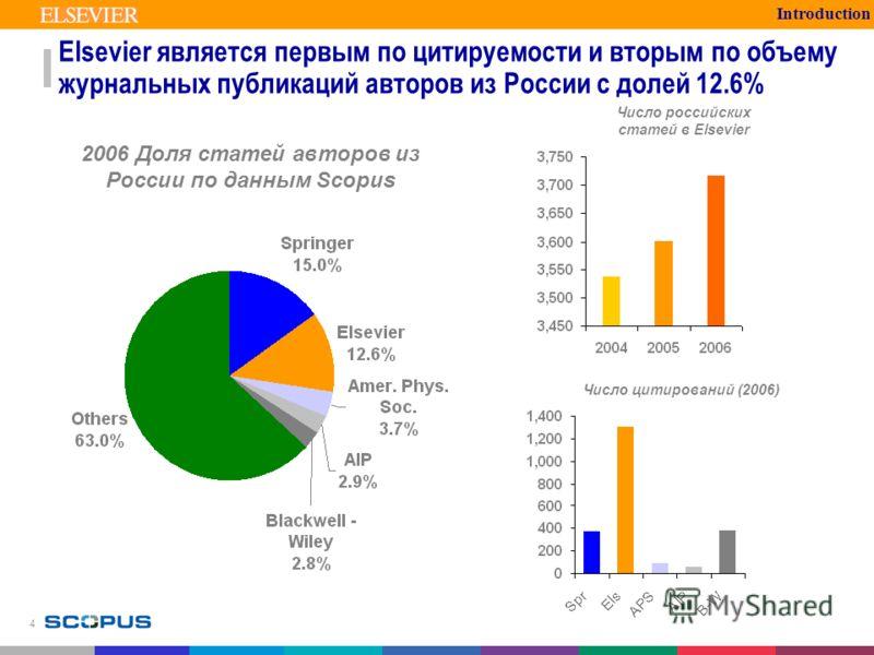 4 Elsevier является первым по цитируемости и вторым по объему журнальных публикаций авторов из России с долей 12.6% Introduction 2006 Доля статей авторов из России по данным Scopus Число цитирований (2006) Число российских статей в Elsevier
