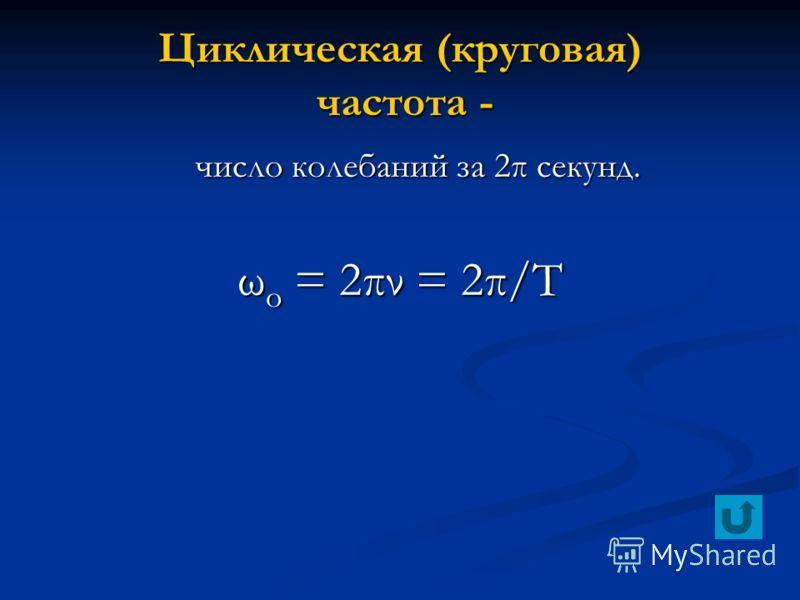 Циклическая (круговая) частота - число колебаний за 2π секунд. число колебаний за 2π секунд. ω о = 2πν = 2π/Т