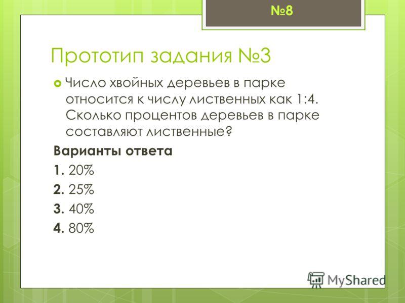 Прототип задания 3 Число хвойных деревьев в парке относится к числу лиственных как 1:4. Сколько процентов деревьев в парке составляют лиственные? Варианты ответа 1. 20% 2. 25% 3. 40% 4. 80% 8