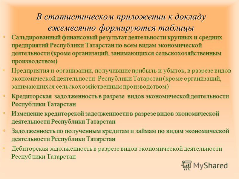 Сальдированный финансовый результат деятельности крупных и средних предприятий Республики Татарстан по всем видам экономической деятельности (кроме организаций, занимающихся сельскохозяйственным производством) Сальдированный финансовый результат деят