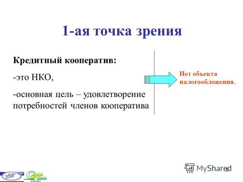 5 1-ая точка зрения Кредитный кооператив: -это НКО, -основная цель – удовлетворение потребностей членов кооператива Нет объекта налогообложения.