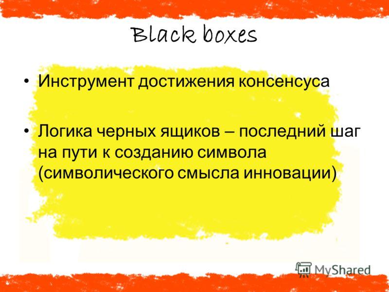Black boxes Инструмент достижения консенсуса Логика черных ящиков – последний шаг на пути к созданию символа (символического смысла инновации)