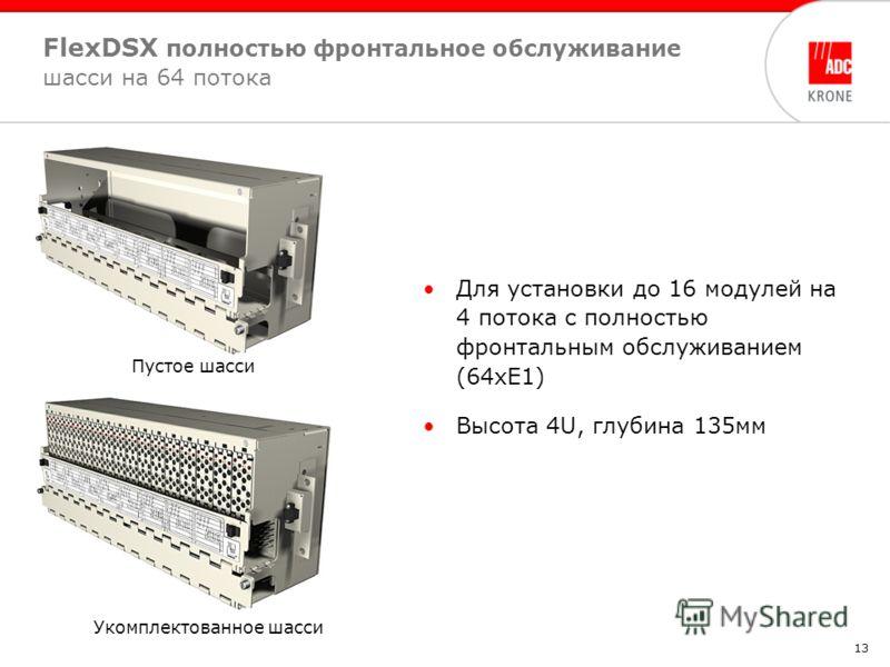 13 Для установки до 16 модулей на 4 потока с полностью фронтальным обслуживанием (64хЕ1) Высота 4U, глубина 135мм FlexDSX полностью фронтальное обслуживание шасси на 64 потока Пустое шасси Укомплектованное шасси