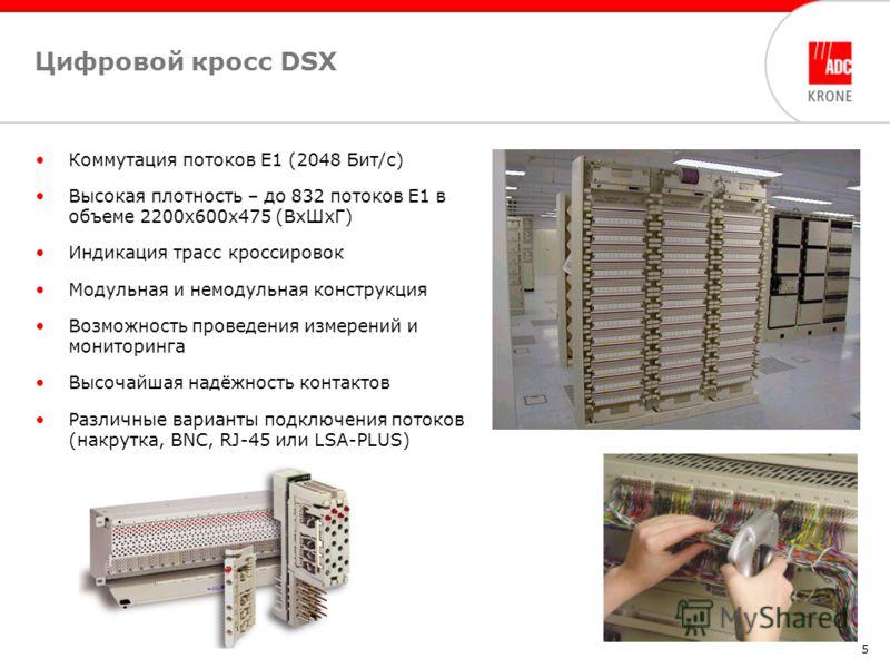 5 Цифровой кросс DSX Коммутация потоков Е1 (2048 Бит/с) Высокая плотность – до 832 потоков Е1 в объеме 2200х600х475 (ВхШхГ) Индикация трасс кроссировок Модульная и немодульная конструкция Возможность проведения измерений и мониторинга Высочайшая надё