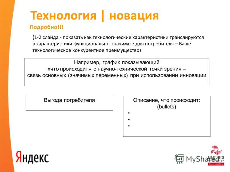 Технология | новация (1-2 слайда - показать как технологические характеристики транслируются в характеристики функционально значимые для потребителя – Ваше технологическое конкурентное преимущество) Например, график показывающий «что происходит» с на