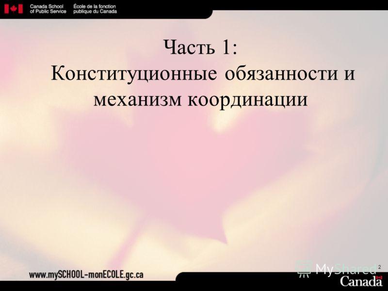2 Часть 1: Конституционные обязанности и механизм координации