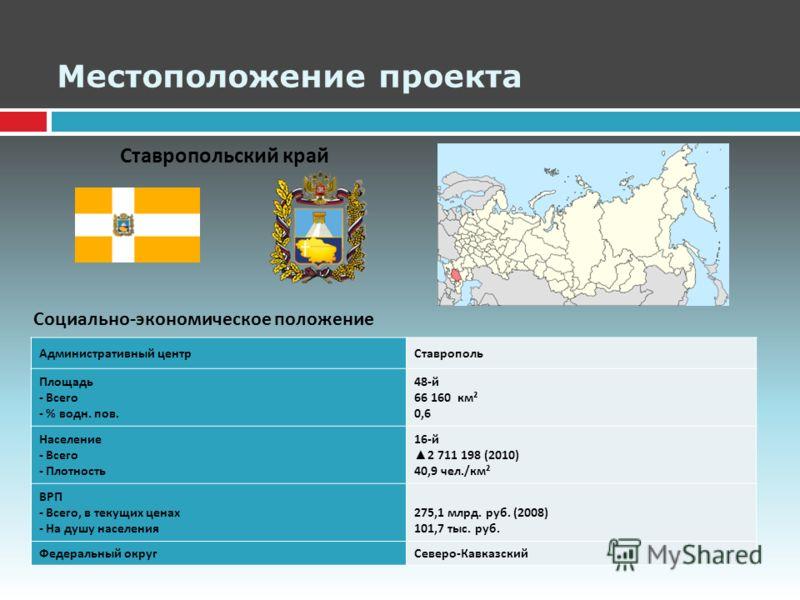 Местоположение проекта Социально - экономическое положение Административный центрСтаврополь Площадь - Всего - % водн. пов. 48- й 66 160 км ² 0,6 Население - Всего - Плотность 16- й 2 711 198 (2010) 40,9 чел./ км ² ВРП - Всего, в текущих ценах - На ду