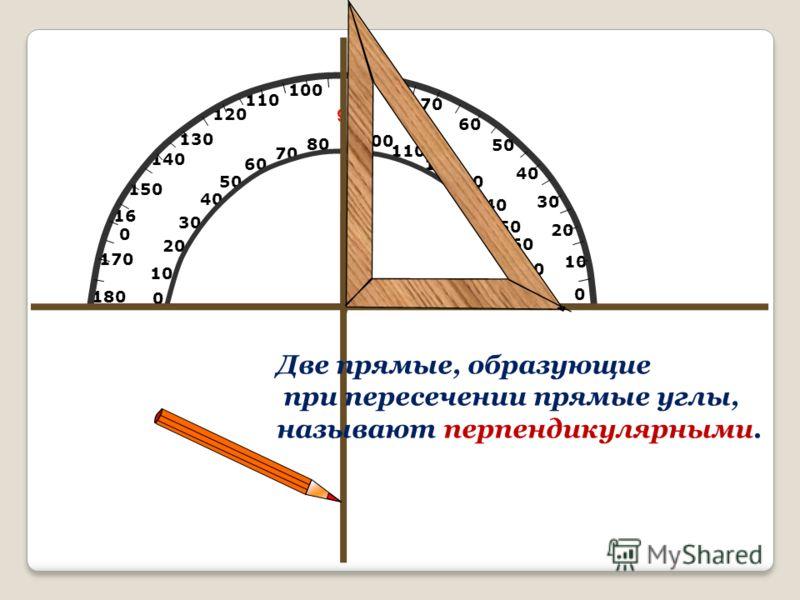 10 20 50 60 70 80 90 100 110 120 130 140 150 16 0 170 180 170 160 150 140 130 120 110 100 80 0 10 20 30 40 50 60 70 0 40 30 Две прямые, образующие при пересечении прямые углы, называют перпендикулярными.