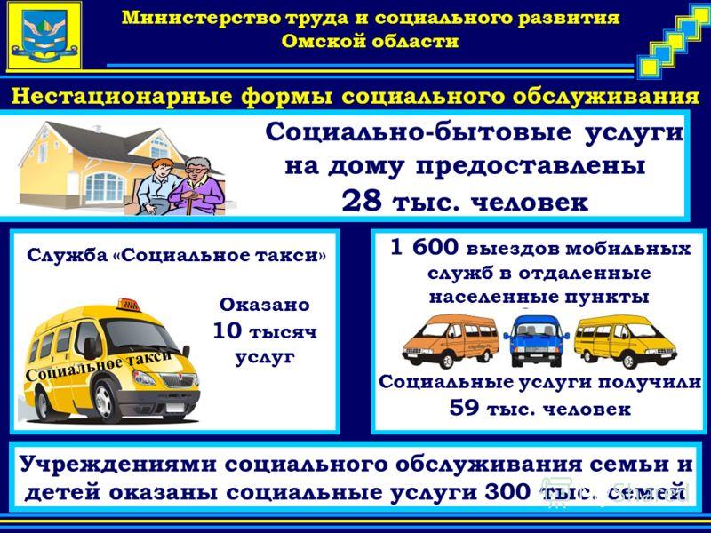 Company Logo Министерство труда и социального развития Омской области Нестационарные формы социального обслуживания 1 600 выездов мобильных служб в отдаленные населенные пункты Социальные услуги получили 59 тыс. человек Оказано 10 тысяч услуг Социаль