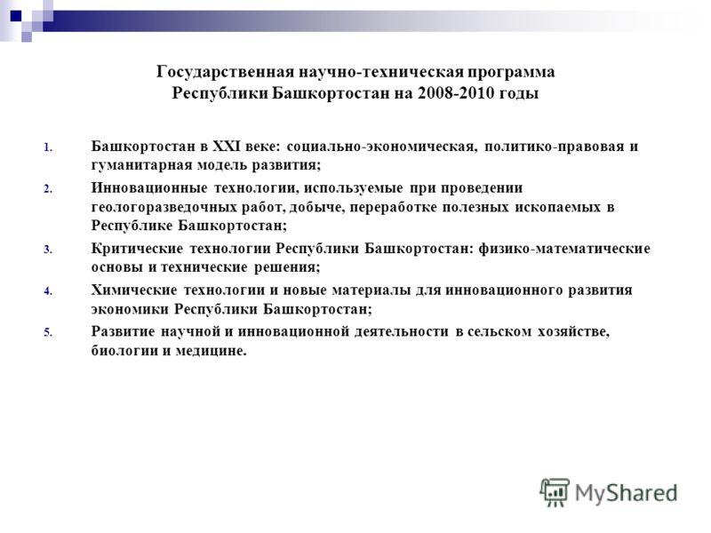 Государственная научно-техническая программа Республики Башкортостан на 2008-2010 годы 1. Башкортостан в XXI веке: социально-экономическая, политико-правовая и гуманитарная модель развития; 2. Инновационные технологии, используемые при проведении гео