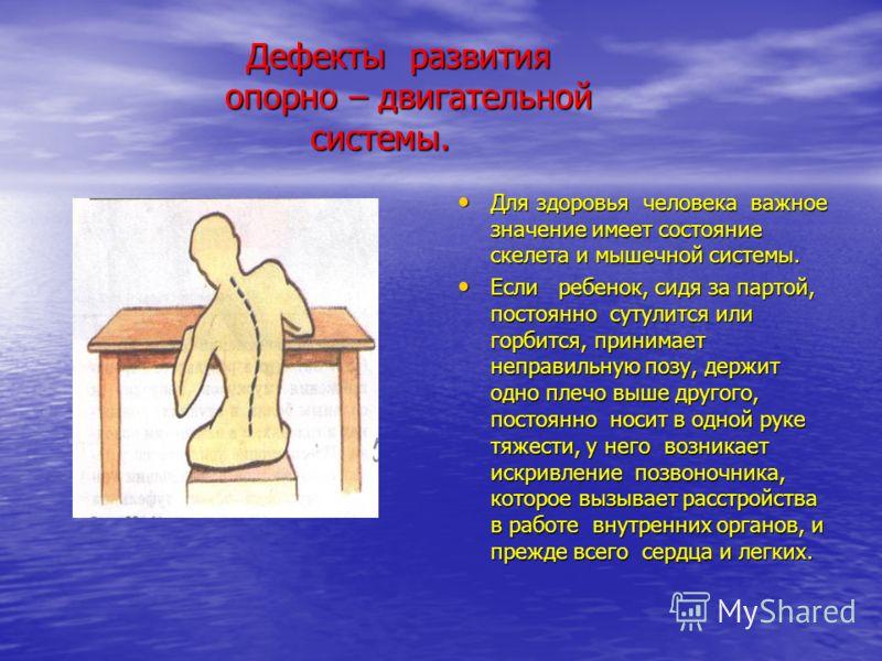 Дефекты развития опорно – двигательной системы. Дефекты развития опорно – двигательной системы. Для здоровья человека важное значение имеет состояние скелета и мышечной системы. Для здоровья человека важное значение имеет состояние скелета и мышечной