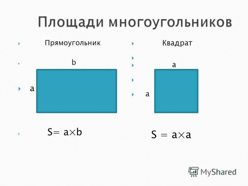 Прямоугольник b a S= a×b Квадрат а а S = a×a