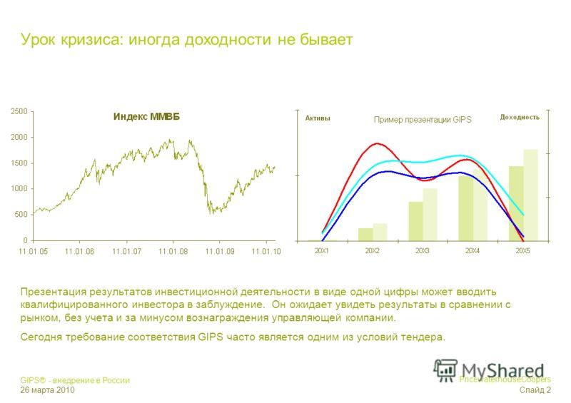 GIPS® - внедрение в России 26 марта 2010 PricewaterhouseCoopers Слайд 1 Публичные инвесторы Корпоративные инвесторы Инвестиционные управляющие Российские ценные бумаги для квалифицированных инвесторов Российские ценные бумаги публичного размещения Ин