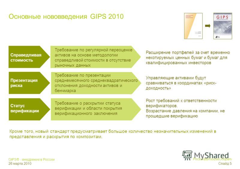 GIPS® - внедрение в России 26 марта 2010 PricewaterhouseCoopers Слайд 4 Страны, принявшие стандарты GIPS Страны, выразившие интерес в принятии стандартов GIPS Source: CFA Institute Статус присоединения к GIPS
