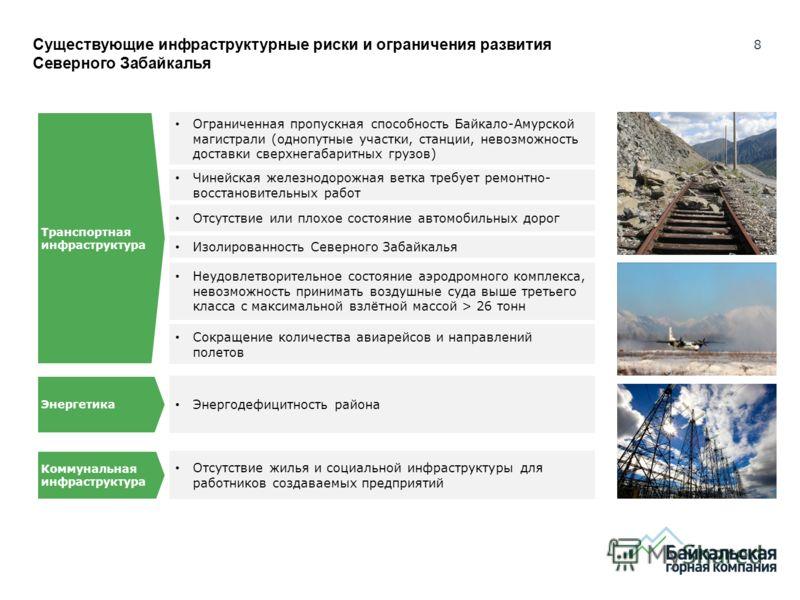 8 Существующие инфраструктурные риски и ограничения развития Северного Забайкалья Ограниченная пропускная способность Байкало-Амурской магистрали (однопутные участки, станции, невозможность доставки сверхнегабаритных грузов) Чинейская железнодорожная