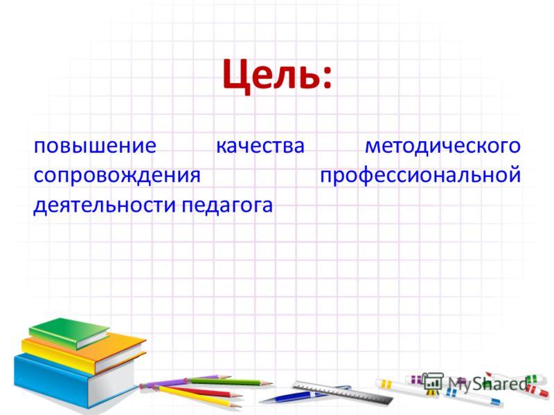 Цель: повышение качества методического сопровождения профессиональной деятельности педагога