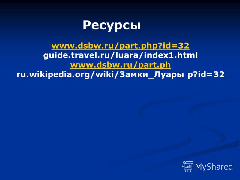 Ресурсы www.dsbw.ru/part.php?id=32 guide.travel.ru/luara/index1.html www.dsbw.ru/part.ph ru.wikipedia.org/wiki/Замки_Луары p?id=32