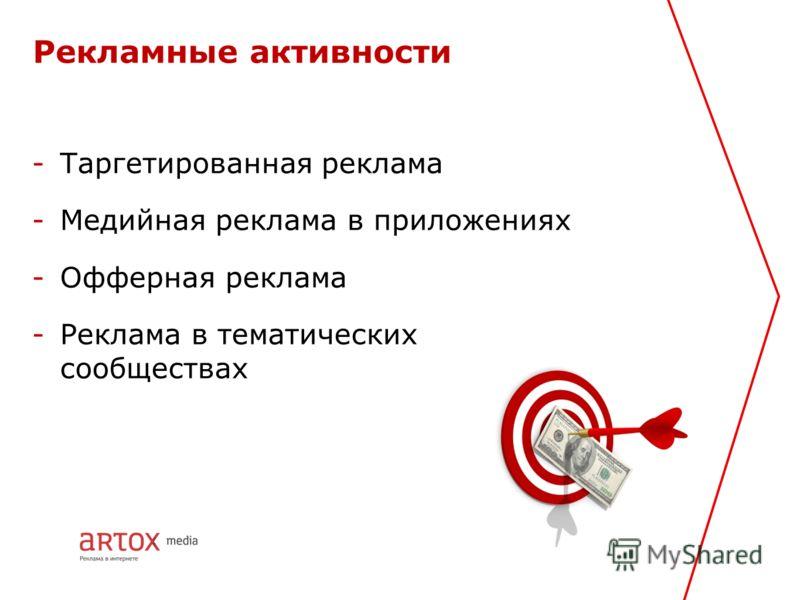 Рекламные активности -Таргетированная реклама -Медийная реклама в приложениях -Офферная реклама -Реклама в тематических сообществах